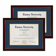 Flagship Diploma Frame 2 Pack Real Wood & Glass Golden Rim Sized 8.5x11 ... - $76.80