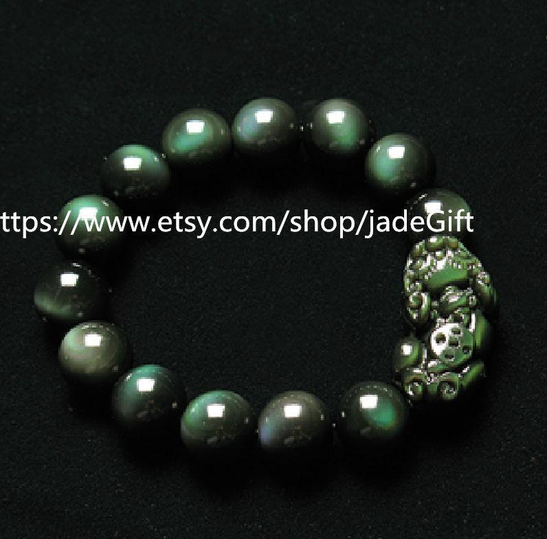 """Free shipping - pure  green eyes obsidian charm """"Pi Yao"""" bracelet charm Beaded b"""
