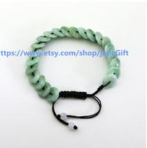 Free Shipping - Round Donuts green jadeite jade luck Button bracelet ,  ... - $26.99