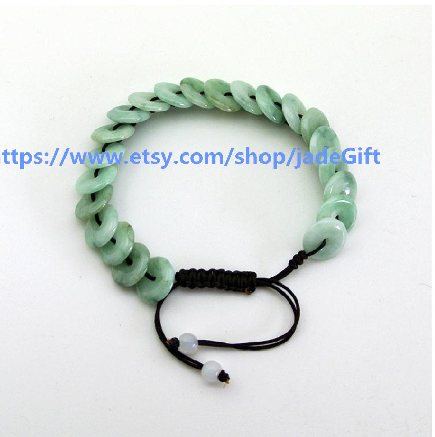 Free Shipping - Round Donuts green jadeite jade luck Button bracelet ,   Natural