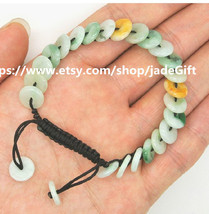 Free Shipping - green jadeite jade luck Button bracelet ,   Natural Gree... - $26.99