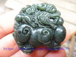 Free Shipping - chinese luck Amulet pi yao hand carved Natural green jad... - $23.99
