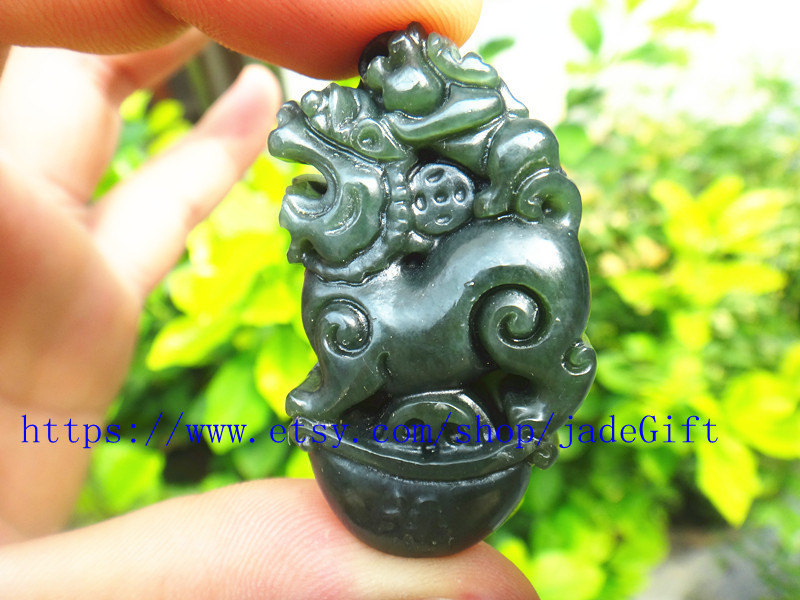 Primary image for Free Shipping - chinese luck Amulet pi yao hand carved Natural green jadeite jad