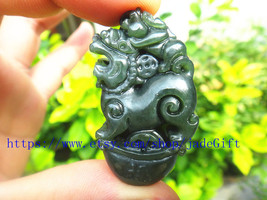 Free Shipping - chinese luck Amulet pi yao hand carved Natural green jadeite jad - $23.99