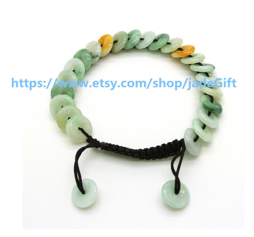 Free Shipping - green jadeite jade luck Button bracelet ,   Natural Green jadeit