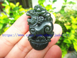 Free Shipping - chinese luck Amulet pi yao hand carved Natural green jadeite jad image 3