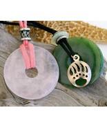 Donut Quartz Gemstone Pendant Pink Green Tribal Bear Claw Paw Necklace - $24.95