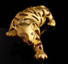 BIG Cat brooch / gold Jaguar / leopard pin / tiger rhinestone lapel pin / womens image 2