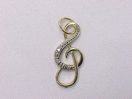 Music TREBLE CLEF - 14K GOLD on STERLING Silver Diamond Pendant - FREE S... - $72.00