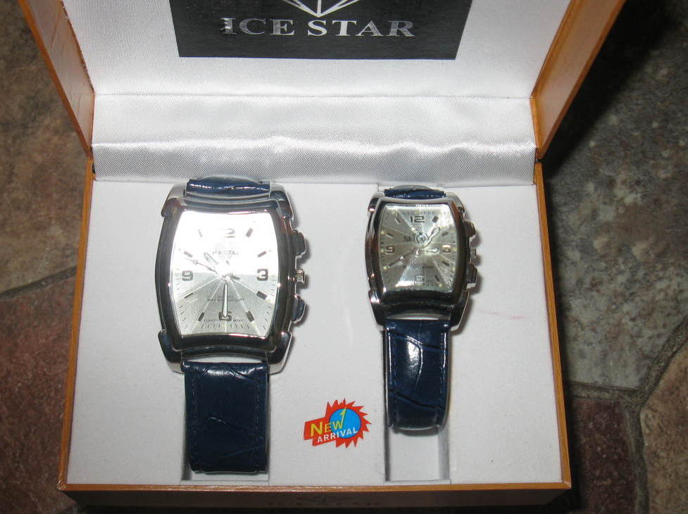 Watches Set Men Women Ice Star New Navy Blue Band