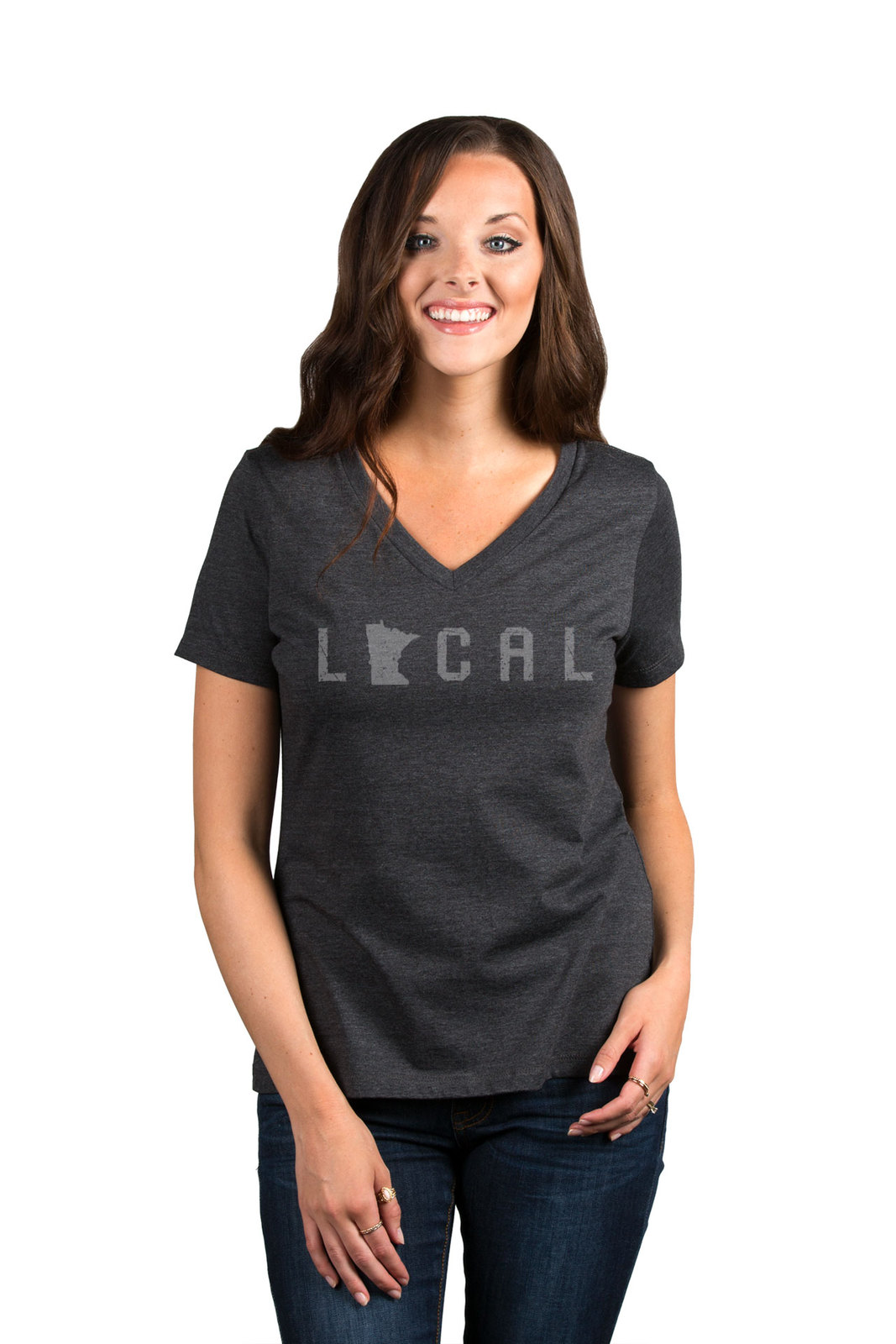 Thread Tank Local Minnesota State Women's Relaxed V-Neck T-Shirt Tee Charcoal