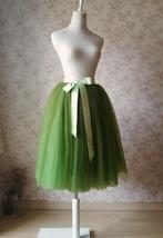 6-layer Puffy Tulle Skirt Women's Tulle Ballerina Skirt Midi Length Green image 3