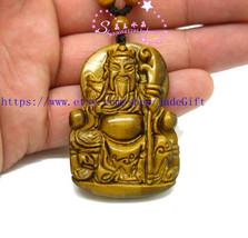 Free shipping - yellow tiger eye ston carved ''Guan Yu'' charm beaded fashion Am - $26.99