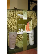 Robe Set Luxury Loofah Body Lotion Shower Gel Printed Kimono Robe Gold E... - $45.99
