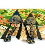Tribal Geometric Earrings Acrylic Carved Black Gold Large Clips - $19.95