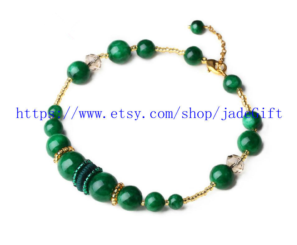 Free shipping - green jade  fashion style jade beaded bracelet prayer beads char