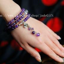 Free shipping -  AAA NATURAL Amethyst Meditation Yoga Prayer Beads Mala rosary m - $36.99