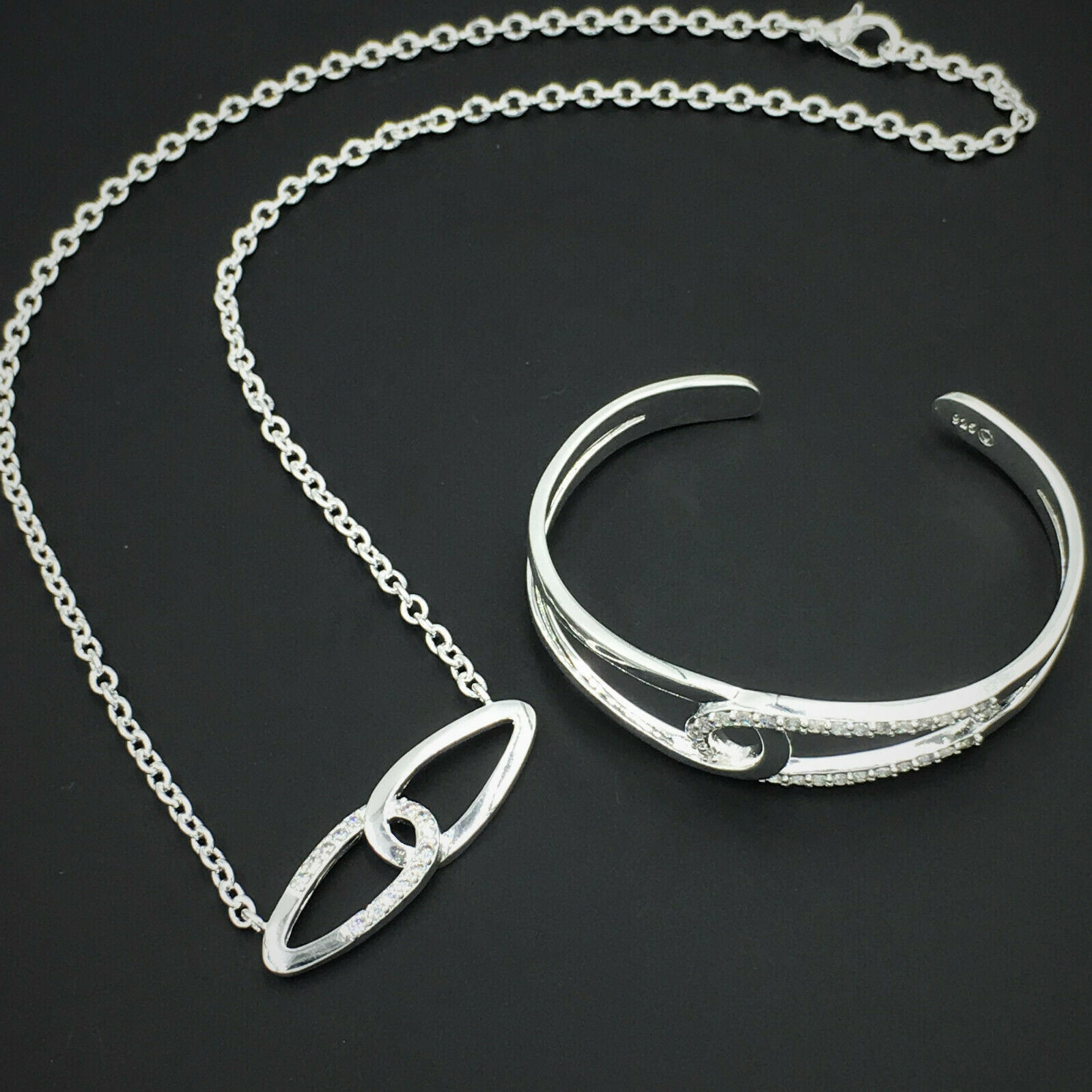 Primary image for Double Link Pendant Necklace and Bracelet Set 925 Sterling Silver NEW