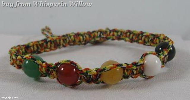 Multi color cord and stone bead bracelet 1