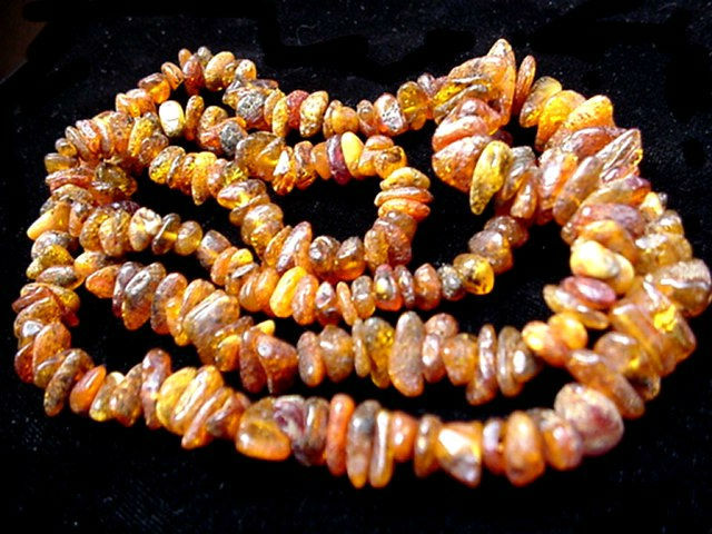 "Beautiful Vintage Real 32"" Raw Rustic Amber Stones Necklace"