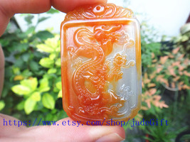 Free Shipping - Hand- carved Natural  yellow jadeite jade carved dragon charm ja - $32.99