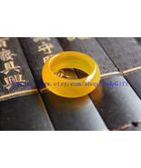 Free Shipping -    good luck Natural yellow jade Round charm jade Ring c... - $16.99