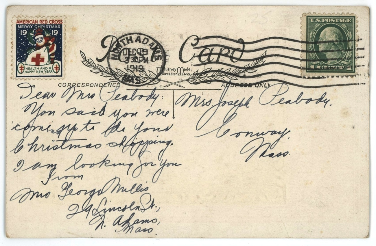 Xmas Whitney postcard Mary Jesus 1919 Red Cross seal stamp Christian religious