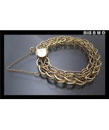 12K GOLD FILLED Heavy WIDE Link BRACELET - 7 1/2 inches long - FREE SHIP... - $165.00