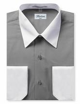 Berlioni Italy Men's White Collar & Cuffs Two Tone Charcoal Dress Shirt XL