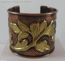 Copper and Brass Leaf Design Cuff Bracelet - $24.95