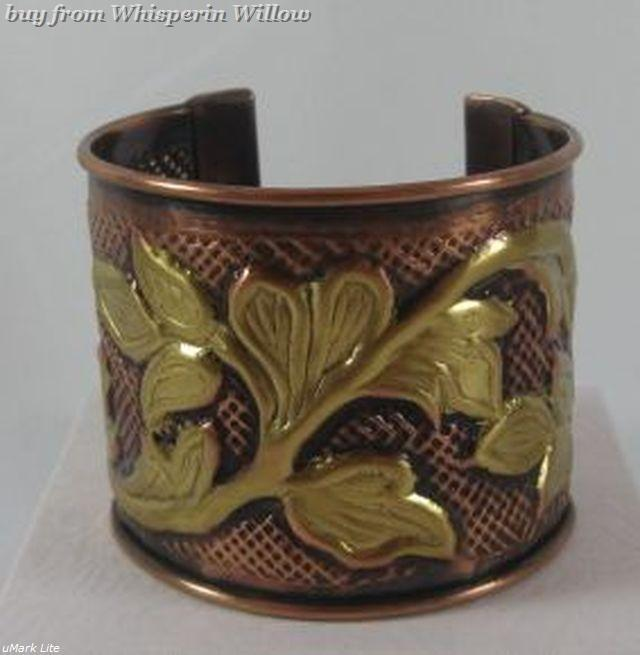 Copper and Brass Leaf Design Cuff Bracelet