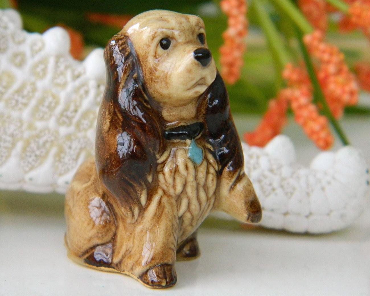 Hagen renaker miniature cocker spaniel mama figurine vintage