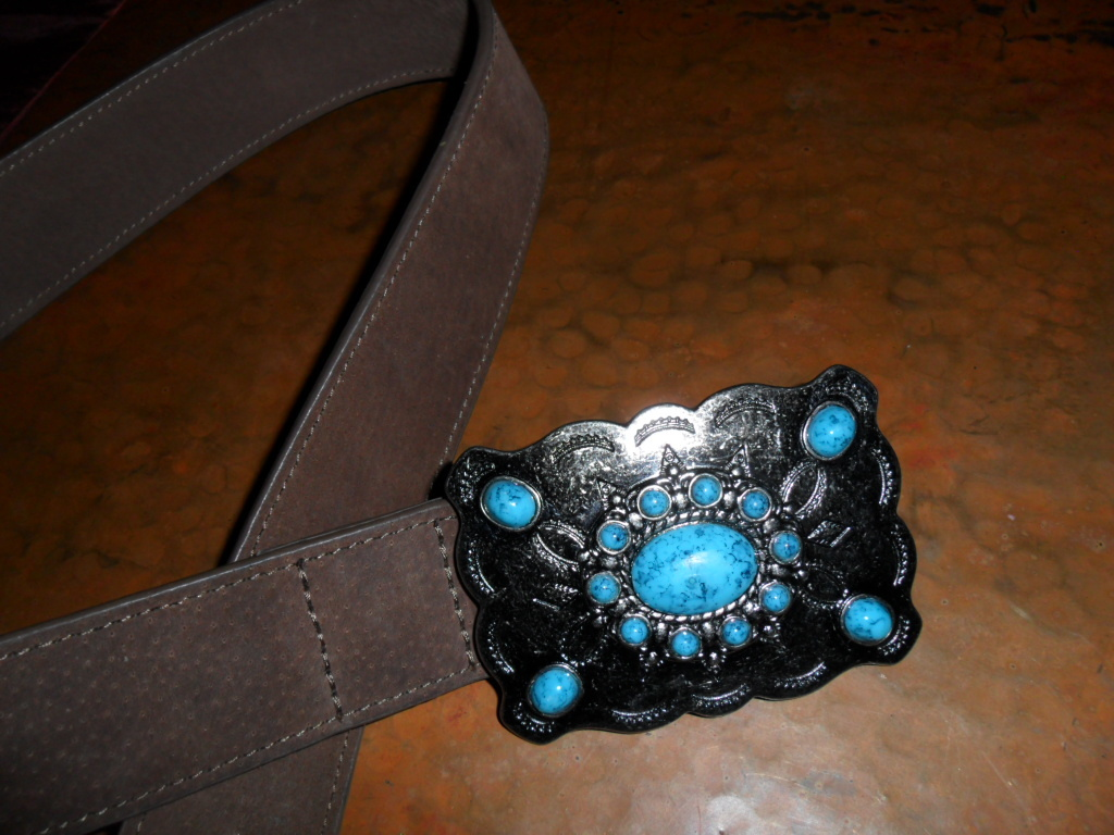 Western Belt and Buckle with Turquoise Design