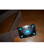 Western Belt and Buckle with Turquoise Design - $12.00