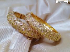 Kada Bangle Gpld Polish Bracelet Kangan Hand Rings Bollywood Ethnic Chud... - $81.96