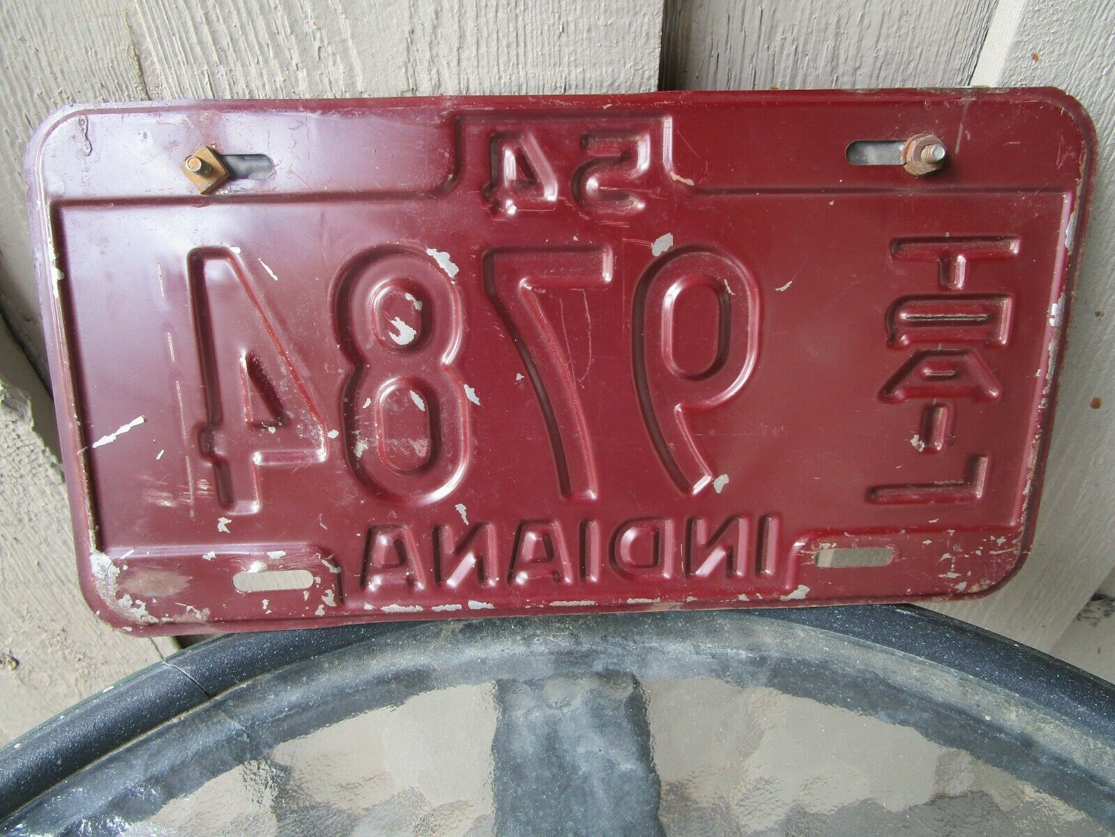 Vintage 1954 Indiana Trailer License Plate w/ 55 Tag 9784 7266 Airstream Shasta image 6