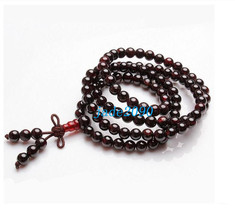 Free Shipping - good luck Natural dark Red Garnet meditation yoga 108 Beads Pray - $30.00