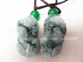 Free Shipping - good luck Natural  Green jadeite jade carved Pi Yao jade... - $29.99