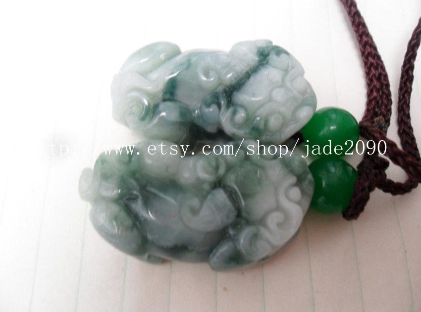 Free Shipping - good luck Natural  Green jadeite jade carved Pi Yao jadeite jade image 3