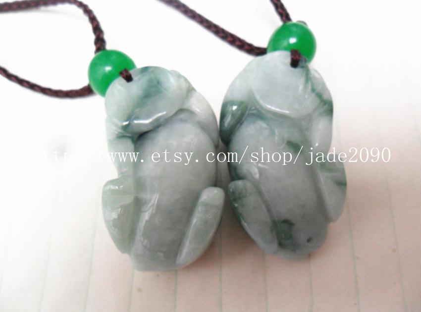 Free Shipping - good luck Natural  Green jadeite jade carved Pi Yao jadeite jade image 4