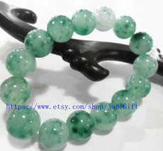 Free Shipping - 15MM Natural Green Jadeite Jade charm beaded jade beads ... - $26.99
