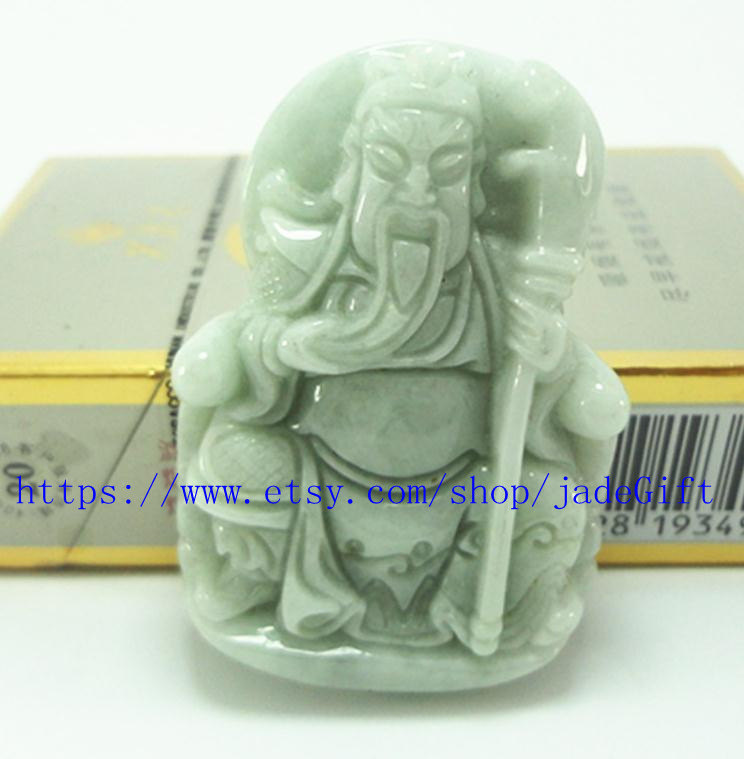 "Primary image for Free Shipping - good luck Natural dark green jadeite jade luck ""Guan Yu"" charm a"
