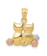 14K Tri Color Gold Double Cat Pendant with Flowers - $119.99