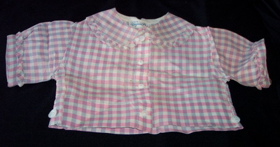 1940s/50s Gingham Infant Baby Blouse Shirt Vintage