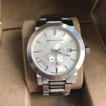 Burberry BU9900 The City Seconds Sub-dial Check Silver Tone 42mm - $375.00