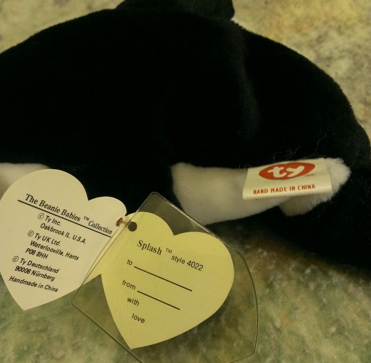 TY 1993 BEANIE BABIES SPLASH THE WHALE 3ND GEN HANG 2nd TUSH TAG Nice