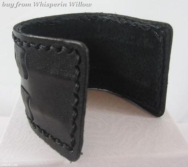 Mens Wide Black Genuine Leather Cuff Bracelet