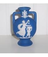 "Wedgewood Blue Jasperware 3 1/2"" Miniture Urn Vase - $19.00"