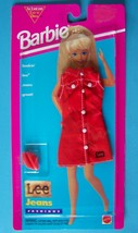 1995 M BARBIE LEE JEANS FASHION RED DRESS - WHITE BUTTONS #68307 MOC - $9.89