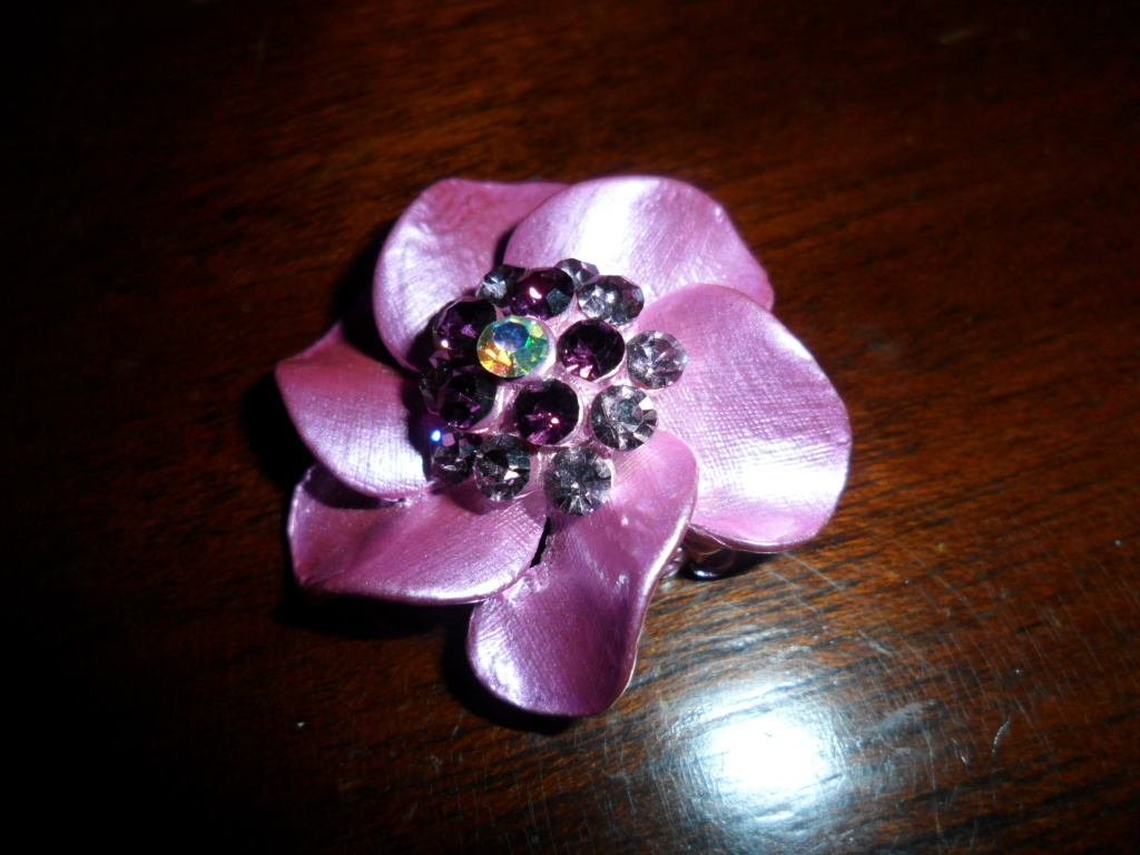 Lavander and Rhinestone  Flower Brooch